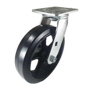 "8"" x 2"" Heavy Duty ""Rubber on Cast Iron"" Caster - Swivel"