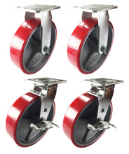 "8"" x 2"" Red Polyurethane on Cast Iron Casters - 2 RIgid and 2 Swivel with Brake"
