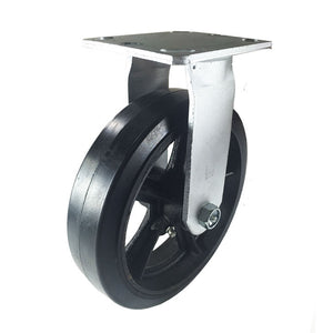 "8"" x 2"" Heavy Duty ""Rubber on Cast Iron"" Caster - Rigid"