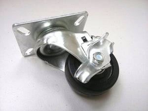 "3"" x 1-1/4"" Hard Rubber Wheel Caster (A2) - 4 Swivels with 2 Brake"