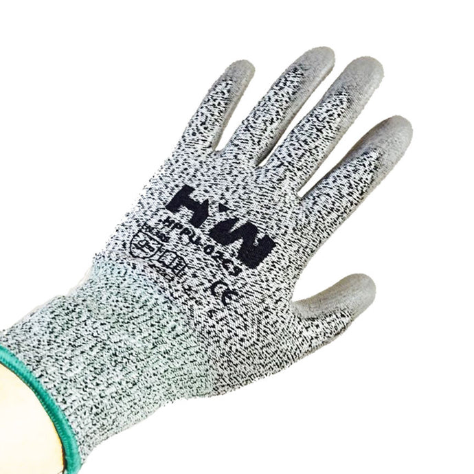 HYW 1 Pair 13 Gauge HPPE Cut Resistant Polyurethane Palm Coated Glove Gray New