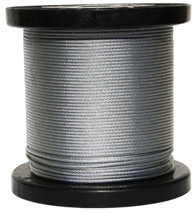 "Galvanized Aircraft Cable Wire Rope 1/2"" 6 x 19 - 100, 200, 250, 300 ... 3000 ft"