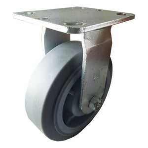"6"" x 2"" Heavy Duty Non-Marking Rubber Wheel Caster  - Rigid (Flat)"