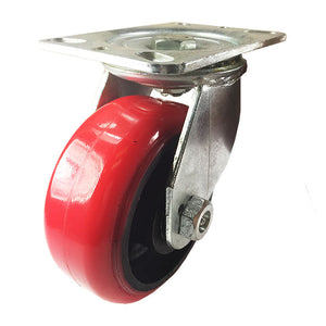 "6"" x 2-1/2"" Heavy Duty Red Polyurethane on Cast Iron Caster - Swivel"
