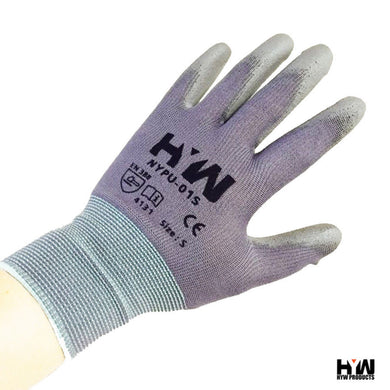 HYW 144 Pairs Gray 13 Gauge Nylon Machine Knit Polyurethane Palm Coating Glove