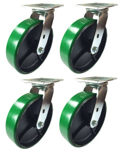 "8"" x 2"" Green Polyurethane on Cast Iron Casters -  4 Swivels"