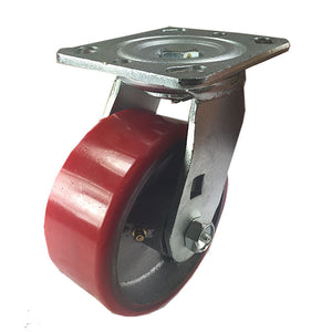 "5"" x 2""  Polyurethane on Cast Iron (Red) - Swivel"