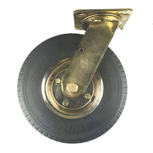 "8"" x 2-1/2"" Flat free Wheel Caster Brass plated - Swivel"