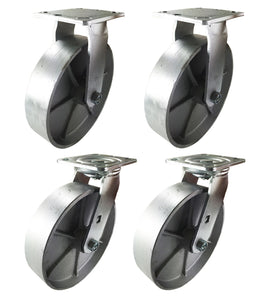 "8"" x 2"" Heavy Duty ""Steel Wheel"" Casters - 2 Swivels & 2 Rigids"