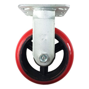 "6"" x 2""  Polyurethane on Cast Iron (Round) - 2 Rigids & 2 Swivels with Brake"