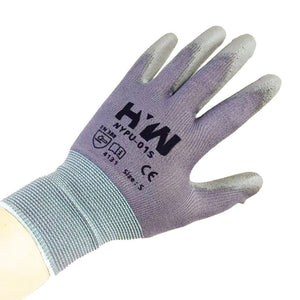 HYW 12 Pairs Gray 13 Gauge Nylon Machine Knit Polyurethane Palm Coating Glove