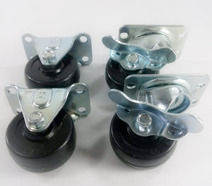 "2"" Hard Rubber Wheel Caster - 2 Rigids and 2 Swivels with Brake"