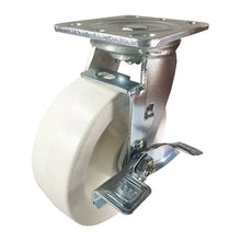 "6"" x 2"" Heavy Duty Plastic Caster (White) - Swivel with Brake"