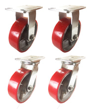 "8"" x 2 1/2"" Red Polyurethane on Cast Iron Casters -  2.Rigids nad 2 Swivels"