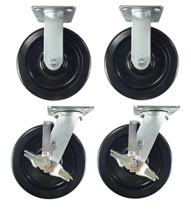 "8"" x 2"" Heavy Duty ""Phenolic Wheel"" Caster - 2 Rigids and 2 Swivels with Brake"
