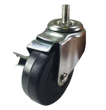 "4"" x 1-1/4"" Hard Rubber on Threaded Stem Caster (B1) - 4 Swivels with Brake"