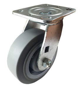 "5"" X  2""  Non-Marking Rubber Wheel Caster - Swivel (Flat)"