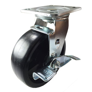 "6"" x 2"" Heavy Duty Plastic Caster - 2 Rigids & 2 Swivels with Brake"