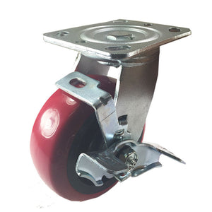 "5"" x 2"" Heavy Duty ""Polyurethane Wheel"" Caster - Swivel with Brake"