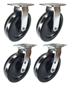 "8"" x 2"" Heavy Duty ""Phenolic Wheel"" Caster - 2 Swivels  & 2 Rigids"