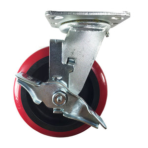 "6"" x 2"" Heavy Duty ""Polyurethane Wheel"" Caster - Swivel with Brake"