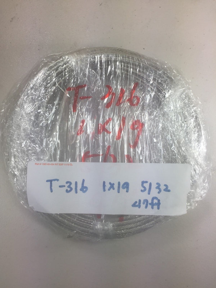Special Price T-316 Grade 1 x 19 Stainless Steel Cable Wire Rope 5/32
