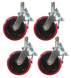 "4 pcs Scaffold Caster 8"" x 2"" Red PU Wheel Locking Brake 1-3/8"" Stem 3800 lbs."