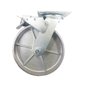 "8"" x 2"" Steel Wheel Caster - 4 Swivels with Total Lock Brake"