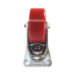 "5"" x 2""  Polyurethane on Cast Iron (Red) - Swivel with Total Lock Brake"