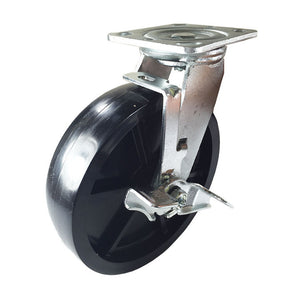 "8"" x 2"" Heavy Duty Plastic Caster - Swivel with Brake"