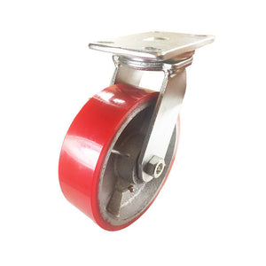 "8"" x 2 1/2"" Red Polyurethane on Cast Iron Casters -  Swivel"