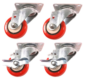 "3"" x 1-1/4"" Polyurethane with Thread Guard Caster (A1) - 4 Swivels with 2 Brake"