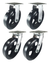 "8"" x 2"" Heavy Duty ""Rubber on Cast Iron"" Caster - 2 Swivels  and 2 Rigids"