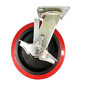 "8"" x 2"" Heavy Duty ""Polyurethane Wheel"" Caster - Swivel with Brake"