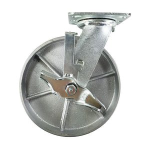 "8"" x 2"" Heavy Duty ""Steel Wheel"" Casters - 2 Rigids and 2 Swivels with Brake"