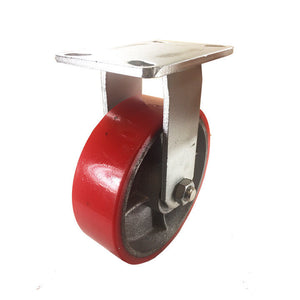 "8"" x 2 1/2"" Red  Polyurethane on Cast Iron Casters -  Rigid"