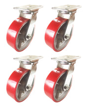 "8"" x 2 1/2"" Red Polyurethane on Cast Iron Casters -  4 Swivels"