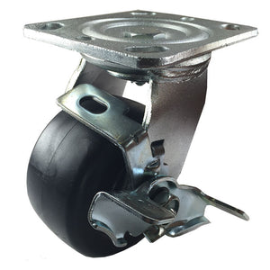 "4"" x 2"" Heavy Duty Plastic Caster - Swivel with Brake"
