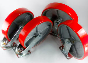"10"" x 2"" Red Polyurethane on Cast Iron Casters - 2 Rigids & 2 Swivels"