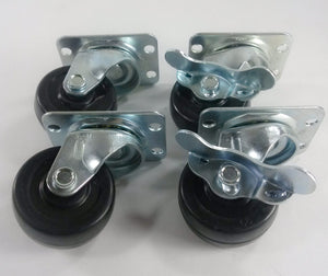 "2""  Hard Rubber Wheel Caster - 2 Swivels and 2 Swivels with Brake"