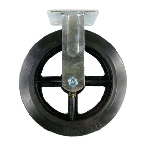 "10"" x 2"" Heavy Duty ""Rubber on Cast Iron"" Caster - 2 Swivels & 2 Rigids"