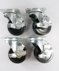 "3-1/2"" x 1-1/4"" Hard Rubber Wheel Casters (A1) - 4 Swivels with Brake"