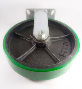 "12"" x 2-1/2"" Polyurethane on Cast Iron Caster (Green) - Rigid"
