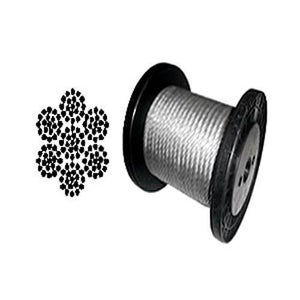 "Galvanized Aircraft Cable Wire Rope 1/8"" 7x19 -100, 200, 250, 500, 1000, 2000 ft"