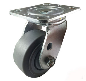 "4"" x 2"" Non-Marking Rubber Tread Plastic Core Caster -  Swivel (Flat)"