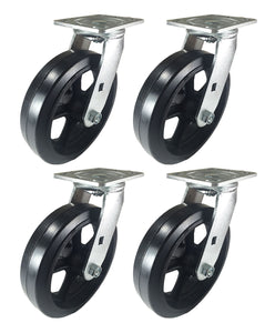 "8"" x 2"" Heavy Duty ""Rubber on Cast Iron"" Caster - 4 Swivels"