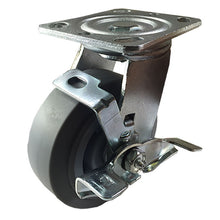 "5"" X  2""  Non-Marking Rubber Wheel Caster - Swivel with Brake (Flat)"