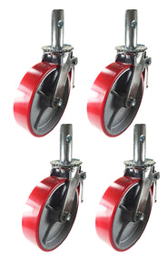 "4 pcs Scaffold Caster 8"" x 2"" Red Wheels w/ Locking Brakes 1-3/8"" Stem 3200 lbs."