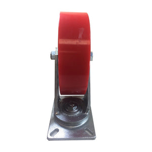 "10"" x 3"" Polyurethane on Cast Iron Caster (Red) - Rigid"