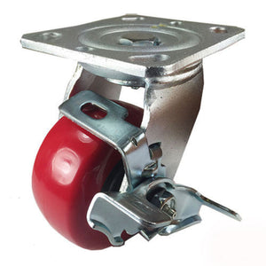 "4"" x 2"" Heavy Duty ""Polyurethane Wheel"" Caster - Swivel with Brake"